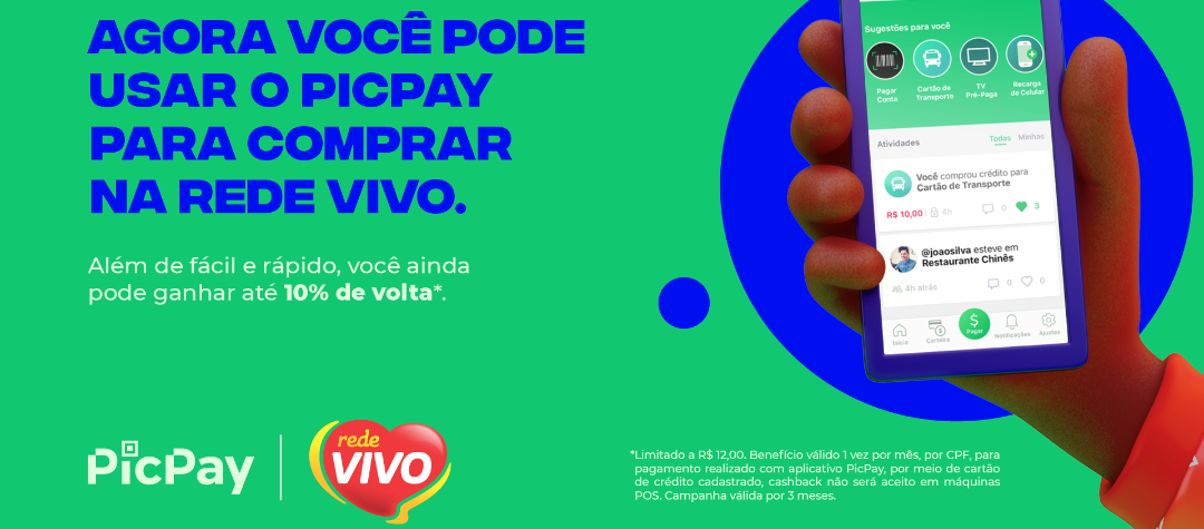 Pague as compras com PicPay na Rede Vivo